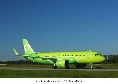 NOVOSIBIRSK - JULY 09: Airbus A320 NEO (VQ-BDQ) of S7 airlines taxiing to the runway at Novosibirsk Tolmachevo Airport. July 09, 2018 in Novosibirsk Russia