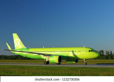 NOVOSIBIRSK - JULY 09: Airbus A320 NEO (VQ-BCF) of S7 airlines taxiing to the runway at Novosibirsk Tolmachevo Airport. July 09, 2018 in Novosibirsk Russia