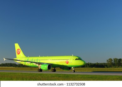 NOVOSIBIRSK - JULY 09: Airbus A320  (VQ-BRC) of S7 airlines taxiing to the runway at Novosibirsk Tolmachevo Airport. July 09, 2018 in Novosibirsk Russia