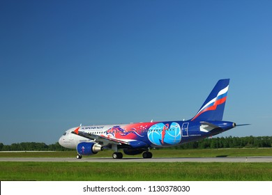 """NOVOSIBIRSK - JULY 09: Airbus A320-214 VP-BWE (in """"PBC CSKA Moscow"""" special livery) Aeroflot Airlines taxiing to the runway at Novosibirsk Tolmachevo Airport. July 09, 2018 in Novosibirsk Russia"""