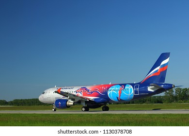 "NOVOSIBIRSK - JULY 09: Airbus A320-214 VP-BWE (in ""PBC CSKA Moscow"" special livery) Aeroflot Airlines taxiing to the runway at Novosibirsk Tolmachevo Airport. July 09, 2018 in Novosibirsk Russia"