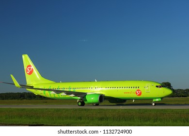 NOVOSIBIRSK - JULY 09: Boeing 737-800 (VQ-BRK) of S7 airlines taxiing at Novosibirsk Tolmachevo Airport. July 09, 2018 in Novosibirsk Russia