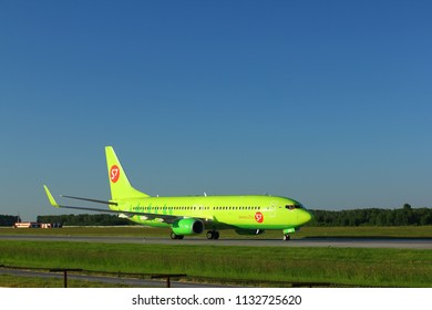 NOVOSIBIRSK - JULY 09: Boeing 737-800 (VQ-BVM) of S7 airlines taxiing at Novosibirsk Tolmachevo Airport. July 09, 2018 in Novosibirsk Russia