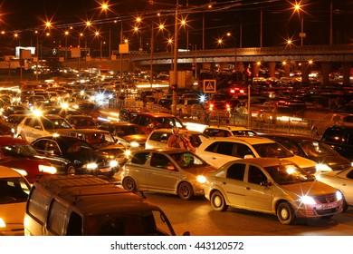 NOVOSIBIRSK - JUNE 26, 2016: Road, a traffic nightmare. Russia