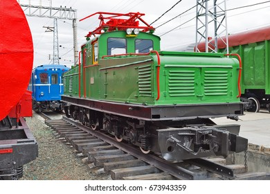 Novosibirsk Museum of railway equipment in Novosibirsk, Siberia, Russia - July 7, 2017: Industrial locomotive type II-KP-2A. Built by Novocherkassk electric locomotive plant named after S. M. Budenny