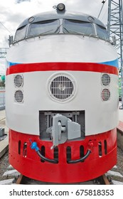 Novosibirsk Museum of railway equipment in Novosibirsk, Siberia, Russia - July 7, 2017: ER 200 - 2 second edition - Soviet high-speed train DC. Produced by Riga carriage works