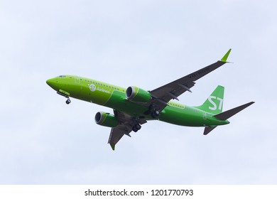 NOVOSIBIRSK - OCT. 13: First plane Boeing 737 MAX 8 in Russia for S7 Airlines. Boeing 737 MAX 8 VQ-BGW of S7 airlines landing at Novosibirsk Tolmachevo Airport. October 13, 2018 in Novosibirsk Russia