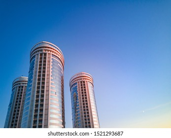 NOVOSIBIRSK, Novosibirsk region / Russia-October, 03 2019: towers of Flotilla residential complex against the blue evening sky