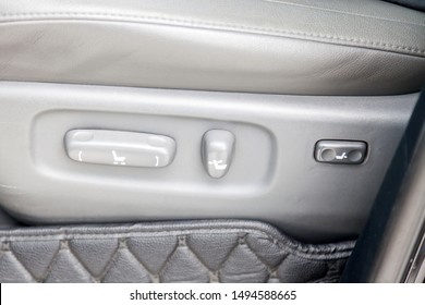 Novosibirsk, Russia - 08.09.2019: View to the interior of Toyota Land Cruiser 200 with Buttons for adjusting and adjusting the seat horizontally in height by tilting the backrest