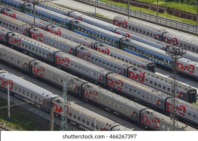 NOVOSIBIRSK, RUSSIA - 15 JULY 2013: Many wagons and trains. Aerial view. Railway transport in Russia, Novosibirsk