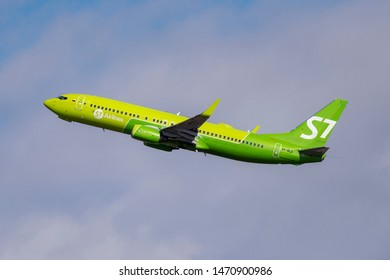 Novosibirsk, Russia - April 1, 2019: Boeing 737-8Q8 VP-BLD S7 Airlines  in the sky after take off from the international airport Tolmachevo.
