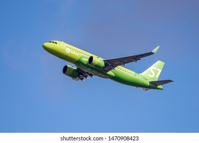 Novosibirsk, Russia - April 1, 2019: Airbus A320-271N VQ-BCF S7 Airlines  in the sky after take off from the international airport Tolmachevo.