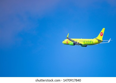 Novosibirsk, Russia - April 1, 2019: Boeing 737-8GJ VQ-BVK S7 Airlines  in the sky after take off from the international airport Tolmachevo.