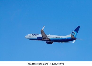 Novosibirsk, Russia - April 1, 2019: Boeing 737-86N EI-ECM Alrosa Airlines  in the sky after take off from the international airport Tolmachevo.