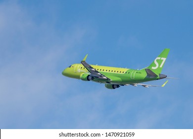 Novosibirsk, Russia - April 1, 2019: Embraer 170-100LR VQ-BYL S7 Airlines  in the sky after take off from the international airport Tolmachevo.