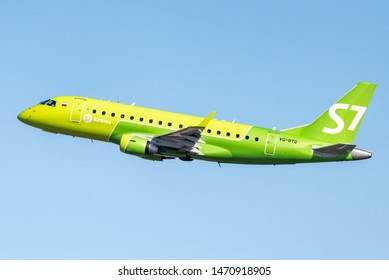 Novosibirsk, Russia - April 1, 2019:Embraer 170-100SU  VQ-BYG S7 Airlines in the sky after take off from the international airport Tolmachevo.