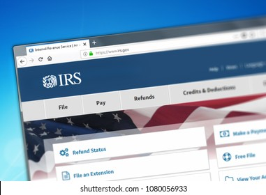Novosibirsk, Russia - April 30, 2018 - Homepage of Internal Revenue Service website on the display of PC, url - irs.gov