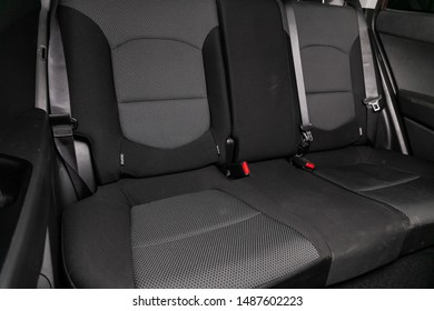 Novosibirsk, Russia – August 01, 2019:   Hyundai Creta, black interior design, car passenger and driver seats with seats belt.
