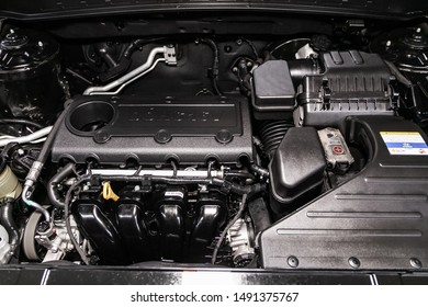 Novosibirsk, Russia – August 01, 2019:  Hyundai Santa Fe, close-up of the engine, front view. Internal combustion engine, car parts, deteyling