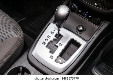 Novosibirsk, Russia – August 01, 2019:  Hyundai Santa Fe, close-up of the accelerator handle and buttons. automatic transmission gear of car , car interior