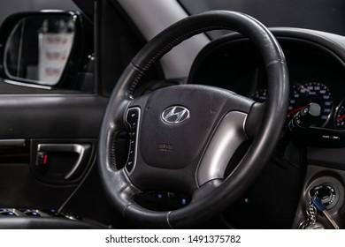 Novosibirsk, Russia – August 01, 2019:  Hyundai Santa Fe, close-up of the dashboard, speedometer, tachometer and steering wheel. . modern car interior