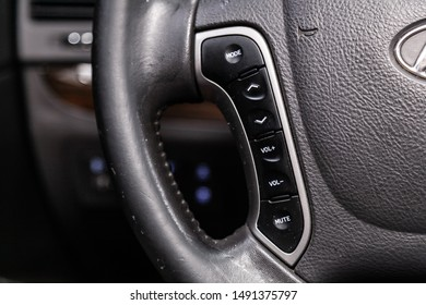 Novosibirsk, Russia – August 01, 2019:  Hyundai Santa Fe, Car controller on steerling wheel ,Music,Control System Function and voice telephone in car. modern car interior