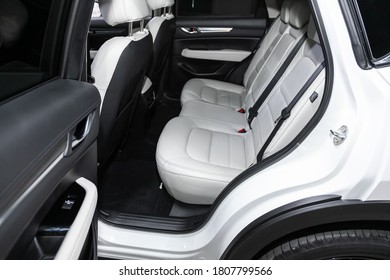 Novosibirsk, Russia – August  07, 2020 : Mazda CX-5, Comfort car inside. Clean car interior: white back seats, headrests and belts
