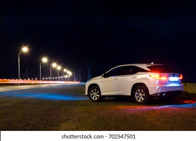 NOVOSIBIRSK, RUSSIA - AUGUST 18, 2017: Lexus RX 200t on night road
