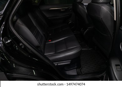 Novosibirsk, Russia – August 19, 2019: Lexus NX200T, Leather interior design, car passenger and driver seats with seats belt.