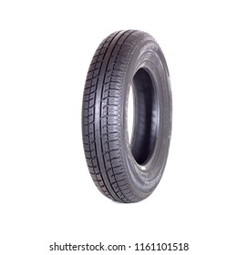 Novosibirsk, Russia, August 21, 2018: Car tire, new tyre Goodyear Dunlop Sava on white background isolated close up