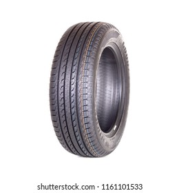 Novosibirsk, Russia, August 21, 2018: Car tire, new tyre Goodyear on white background isolated close up