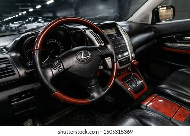 Novosibirsk, Russia – August 24, 2019:  Lexus RX-300,  close-up of the dashboard, speedometer, tachometer and steering wheel. . modern car interior