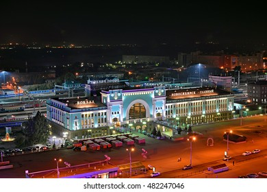 NOVOSIBIRSK, RUSSIA - AUGUST 26 - Night view of Novosibirsk railway station, one of the most important stops on the trans-siberian railway route, on August 26, 2016 in Novosibirsk, Russia