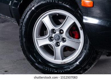 Novosibirsk, Russia – August 27, 2019:  Hyundai Santa Fe, close-up of the bumper, alloy wheel, car detailing  with sport breaks