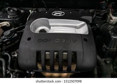 Novosibirsk, Russia – August 27, 2019:  Hyundai Santa Fe, Close up detail of  car engine, front view. Internal combustion engine, car parts, deteyling