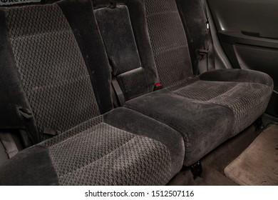 Novosibirsk, Russia – August 27, 2019:  Hyundai Santa Fe,  black interior design, car passenger and driver seats with seats belt.