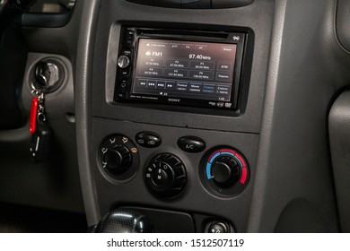 Novosibirsk, Russia – August 27, 2019:  Hyundai Santa Fe, close-up of the dashboard, adjustment of the blower, air conditioner, player. modern car interior