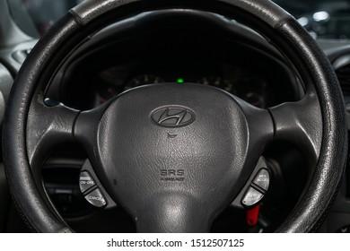 Novosibirsk, Russia – August 27, 2019:  Hyundai Santa Fe, close-up of the dashboard, speedometer, tachometer and steering wheel. . modern car interior