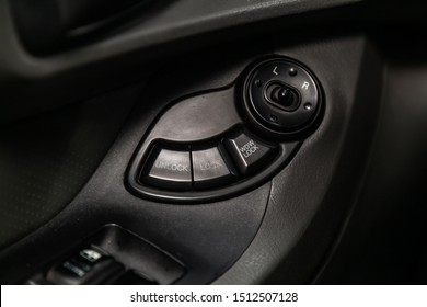 Novosibirsk, Russia – August 27, 2019:  Hyundai Santa Fe, Close-up on the  side mirror, door lock switch control buttons,  automatic adjust level dashboard.