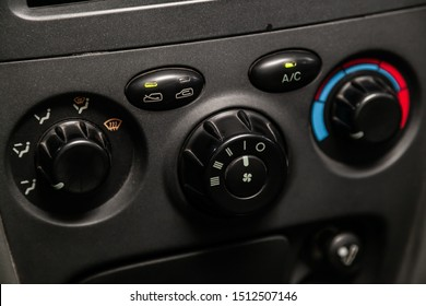 Novosibirsk, Russia – August 27, 2019:  Hyundai Santa Fe, Close up of the digital electronic dual air conditioning and heating system in a automobile car with knobs to adjust the temperature