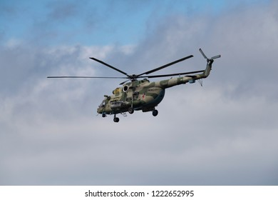 Novosibirsk, Russia - August 5, 2018: Mil Mi-8AMTSh Hip Military modification of the helicopter Mi-8AMTSH on airshow in Mochishche