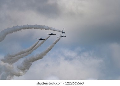 Novosibirsk, Russia - August 5, 2018: Aerobatic team Russ on aircraft L-39 Albatross performs the program at the air show.