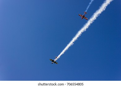 NOVOSIBIRSK - RUSSIA - AUGUST 6, 2017: Airplanes at airshow. Aerobatic team performs flight at air show