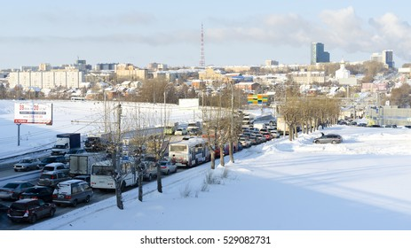 Novosibirsk, Russia - December 04 2016 traffic in the city goes quiet in traffic day in Novosibirsk, 04 Dec 2016.