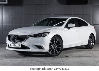 Novosibirsk, Russia - December 04, 2018: Mazda 6, front view. Photography of a modern car on a parking in Novosibirsk