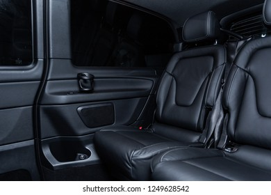 Novosibirsk, Russia - December 04, 2018: Mercedes-Benz v-class, close-up of the rear seats, interior. Photography of a modern car on a parking in Novosibirsk