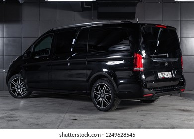 Novosibirsk, Russia - December 04, 2018: Mercedes-Benz v-class, back view. Photography of a modern car on a parking in Novosibirsk