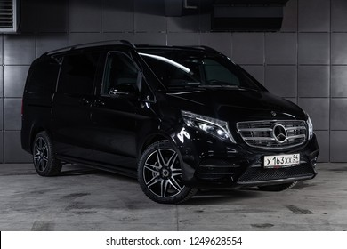Novosibirsk, Russia - December 04, 2018: Mercedes-Benz v-class, front view. Photography of a modern car on a parking in Novosibirsk