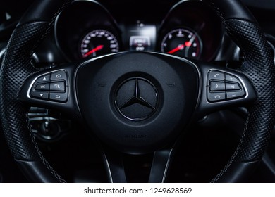 Novosibirsk, Russia - December 04, 2018: Mercedes-Benz v-class, close-up of the dashboard and steering wheel. Photography of a modern car on a parking in Novosibirsk