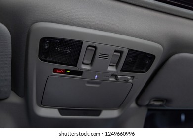 Novosibirsk, Russia - December 04, 2018: Subaru Outback, close-up of the  lights, mirrow and buttons. Photography of a modern car on a parking in Novosibirsk
